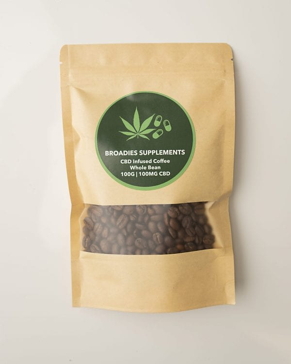 Broadies Supplements CBD Infused Whole Coffee Beans 100g Bag count(alt)