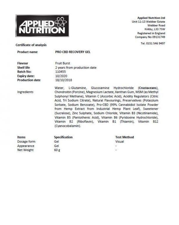 Applied Nutrition Pro CBD Sport Recovery Gel - Fruit Burst count(alt)