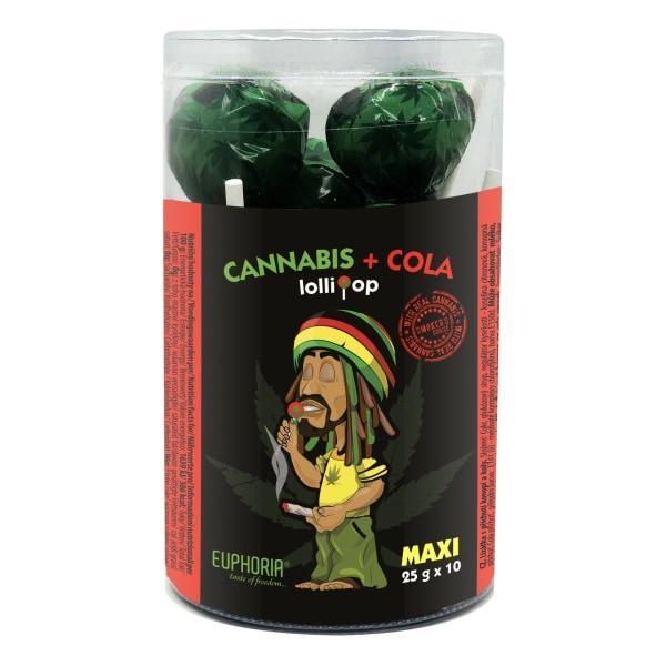 Euphoria Cannabis + Cola Maxi Lollipops 25g x 10pcs count(alt)