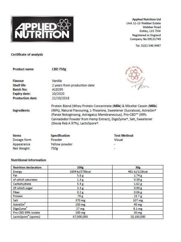 Applied Nutrition Pro CBD Protein & Hemp Powder - Vanilla count(alt)