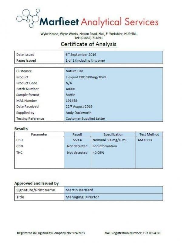 Naturecan 1000mg CBD E-Liquid 10ml (80VG/20PG) count(alt)
