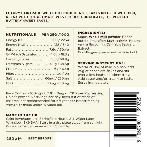 Calm CBD 100mg White Belgian Hot Chocolate 250g Bag count(alt)