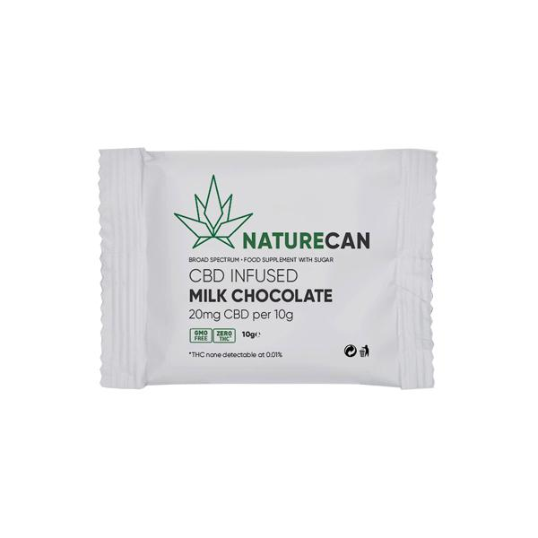 Naturecan 20mg CBD Infused Milk Chocolate 10g count(alt)